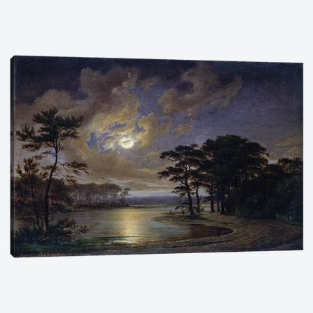 Holstein Sea - Moonlight, 1847  Canvas Print #BMN2522} by Johann Georg Haeselich Canvas Print