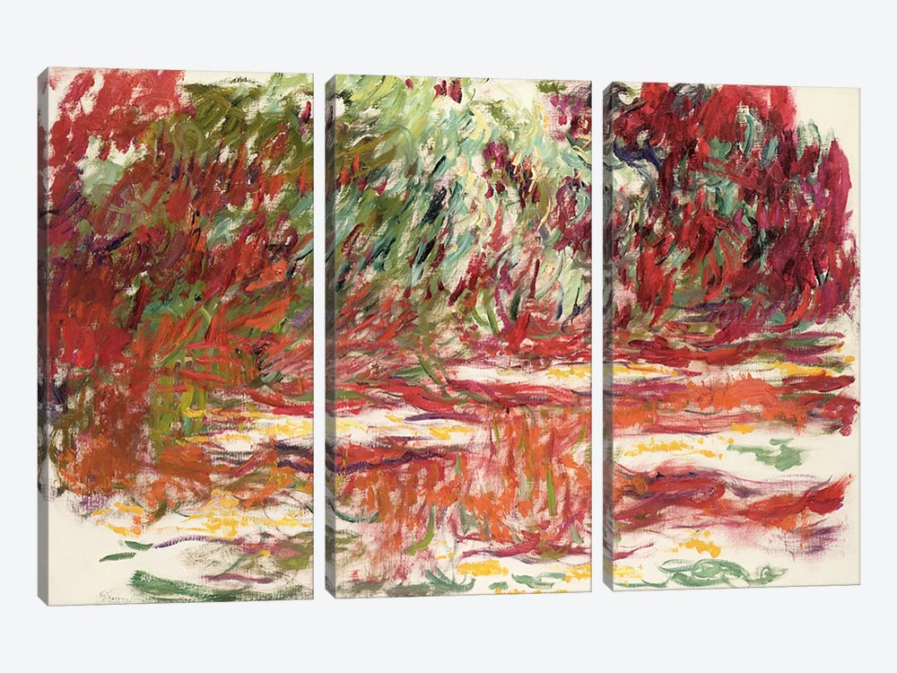 Waterlily Pond, 1918-19  by Claude Monet 3-piece Canvas Wall Art