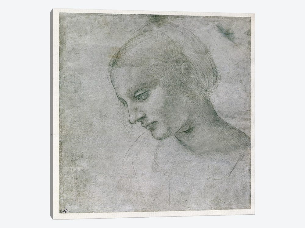 Head of a Young Woman or Head of the Virgin, c.1490  by Leonardo da Vinci 1-piece Canvas Wall Art