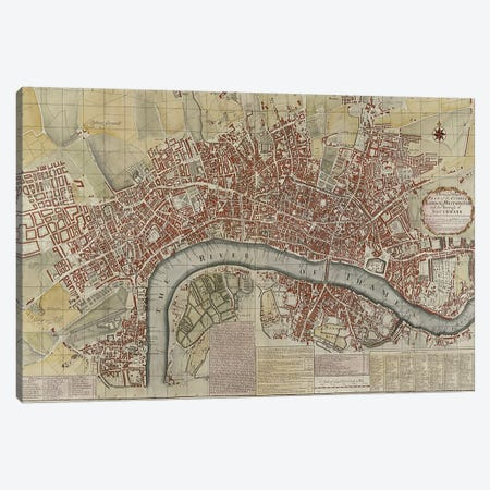 A New and Exact Plan of the Cities of London and Westminster and the Borough of Southwark, 1725  Canvas Print #BMN2542} by English School Canvas Print
