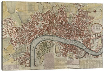 A New and Exact Plan of the Cities of London and Westminster and the Borough of Southwark, 1725  Canvas Art Print