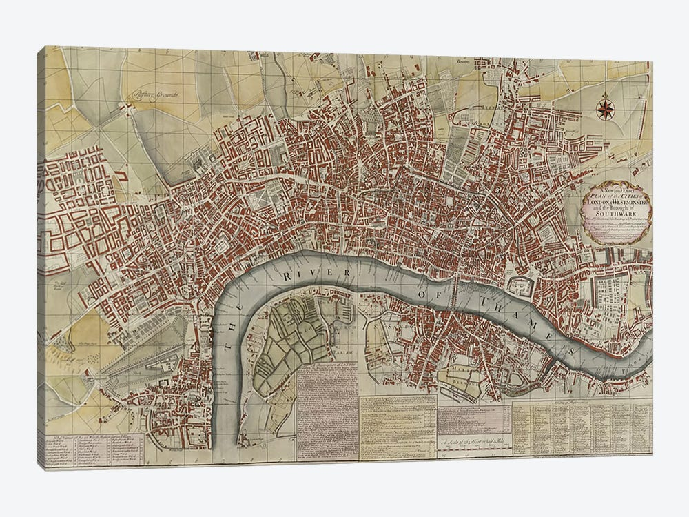 A New and Exact Plan of the Cities of London and Westminster and the Borough of Southwark, 1725  by English School 1-piece Canvas Art Print