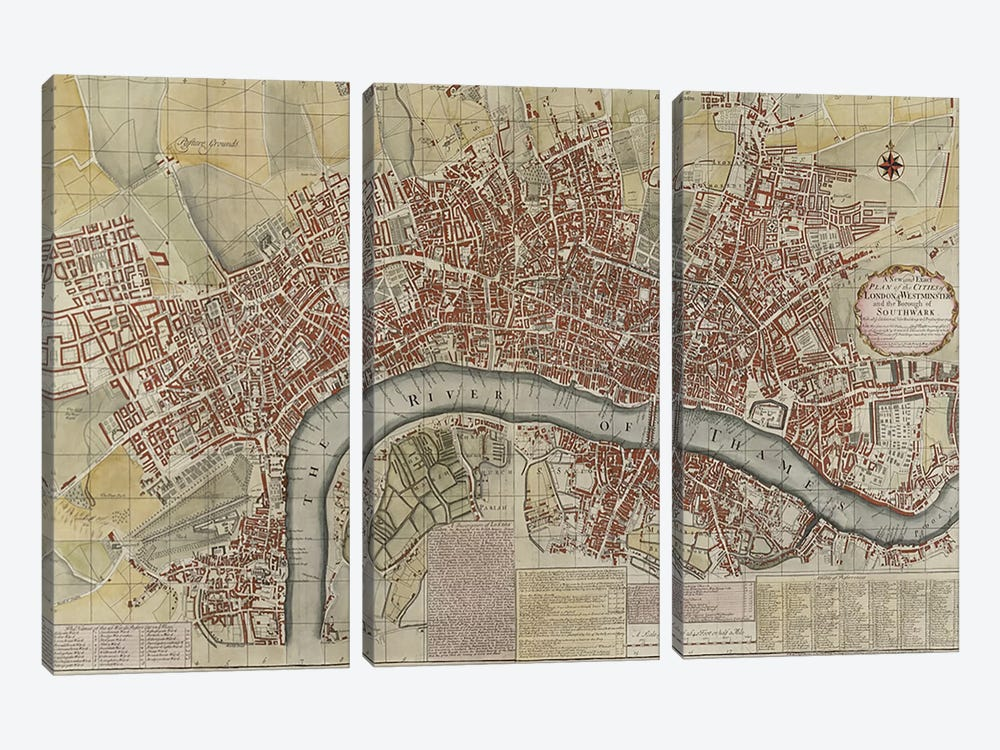 A New and Exact Plan of the Cities of London and Westminster and the Borough of Southwark, 1725  by English School 3-piece Art Print