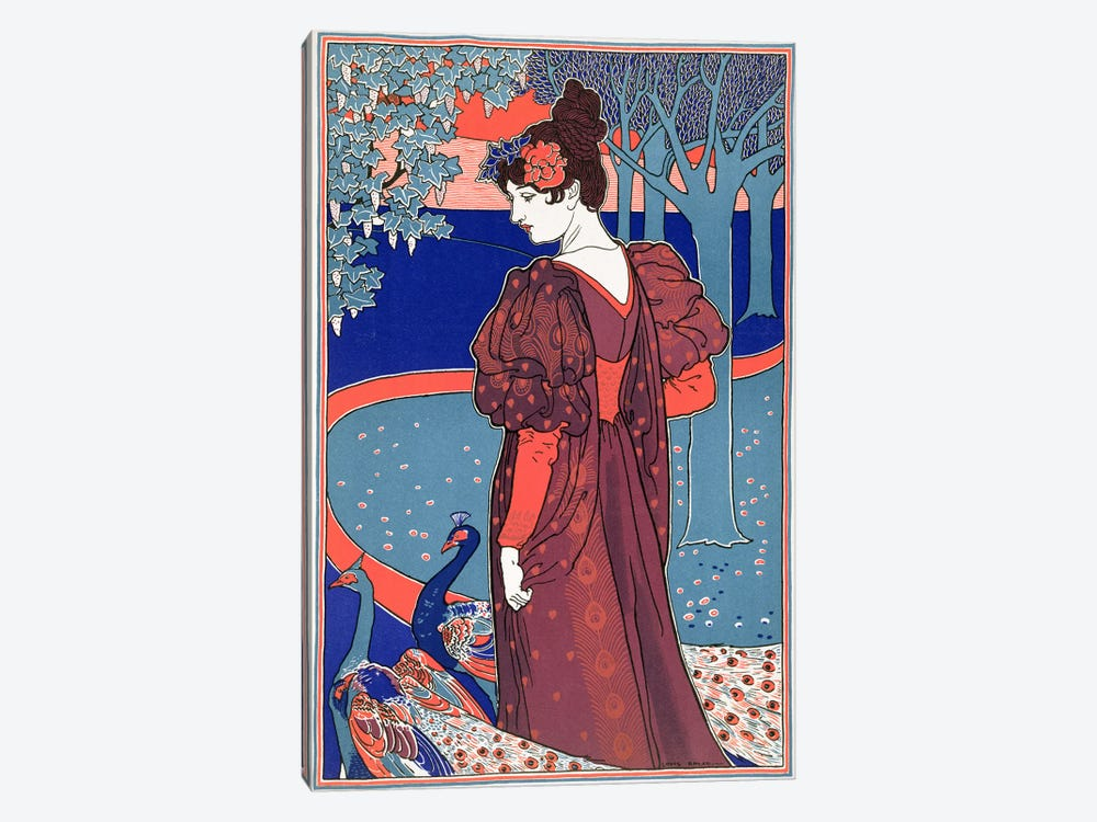 Woman with Peacocks, from 'L'Estampe Moderne', published Paris 1897-99 by Louis John Rhead 1-piece Art Print
