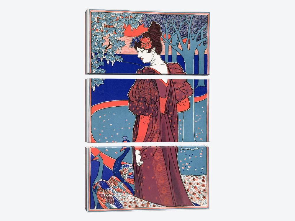 Woman with Peacocks, from 'L'Estampe Moderne', published Paris 1897-99 by Louis John Rhead 3-piece Canvas Art Print