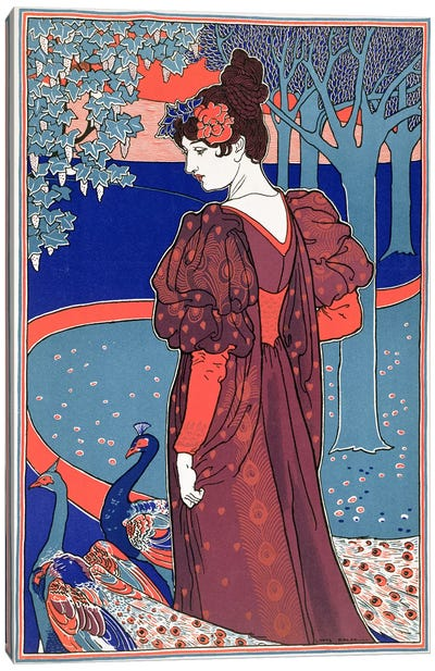 Woman with Peacocks, from 'L'Estampe Moderne', published Paris 1897-99  Canvas Art Print
