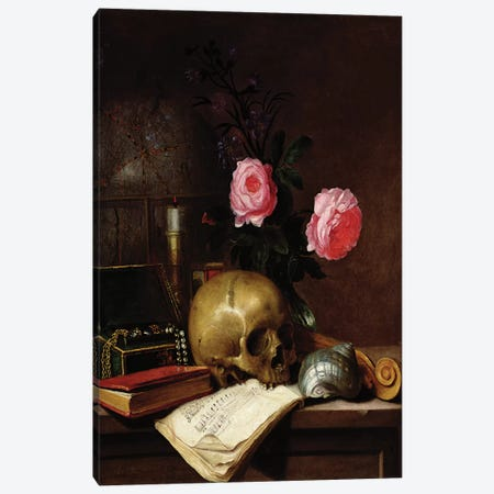 Still Life with a Skull  Canvas Print #BMN2546} by Letellier Canvas Wall Art