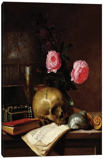Still Life with a Skull  Canvas Art Print