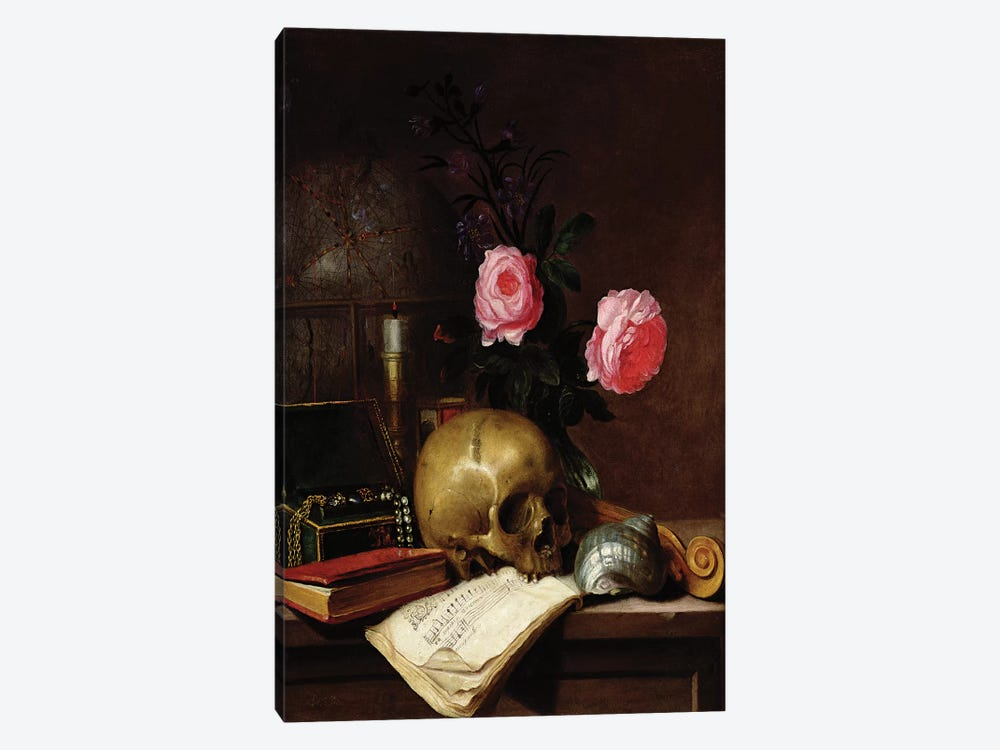 Still Life with a Skull  by Letellier 1-piece Art Print