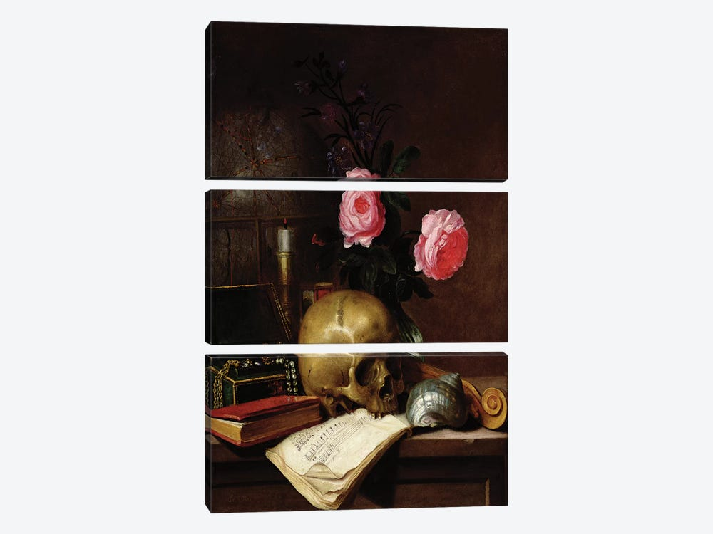 Still Life with a Skull  by Letellier 3-piece Art Print