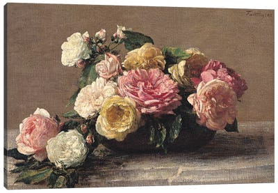Roses in a Dish, 1882  Canvas Art Print