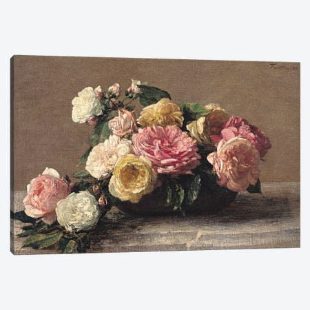 Roses in a Dish, 1882  Canvas Print #BMN2548} by Ignace Henri Jean Theodore Fantin-Latour Canvas Print