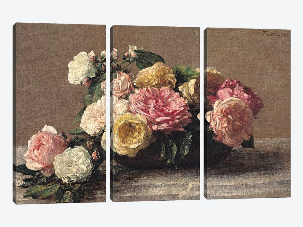 Roses in a Dish, 1882  by Ignace Henri Jean Theodore Fantin-Latour 3-piece Art Print