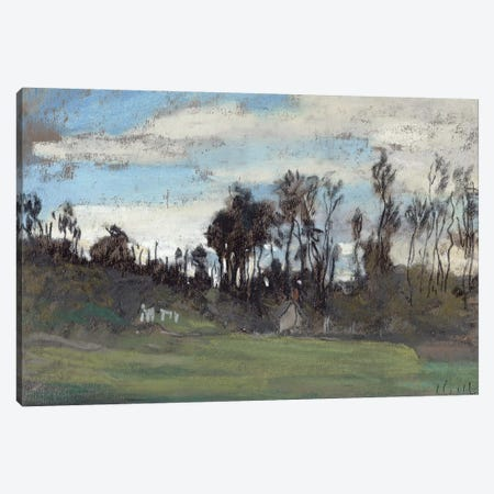 The Meadow lined with trees  3-Piece Canvas #BMN2549} by Claude Monet Art Print