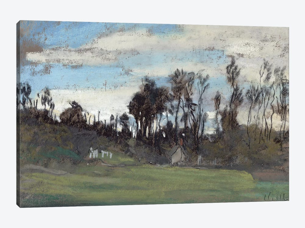 The Meadow lined with trees  by Claude Monet 1-piece Canvas Artwork