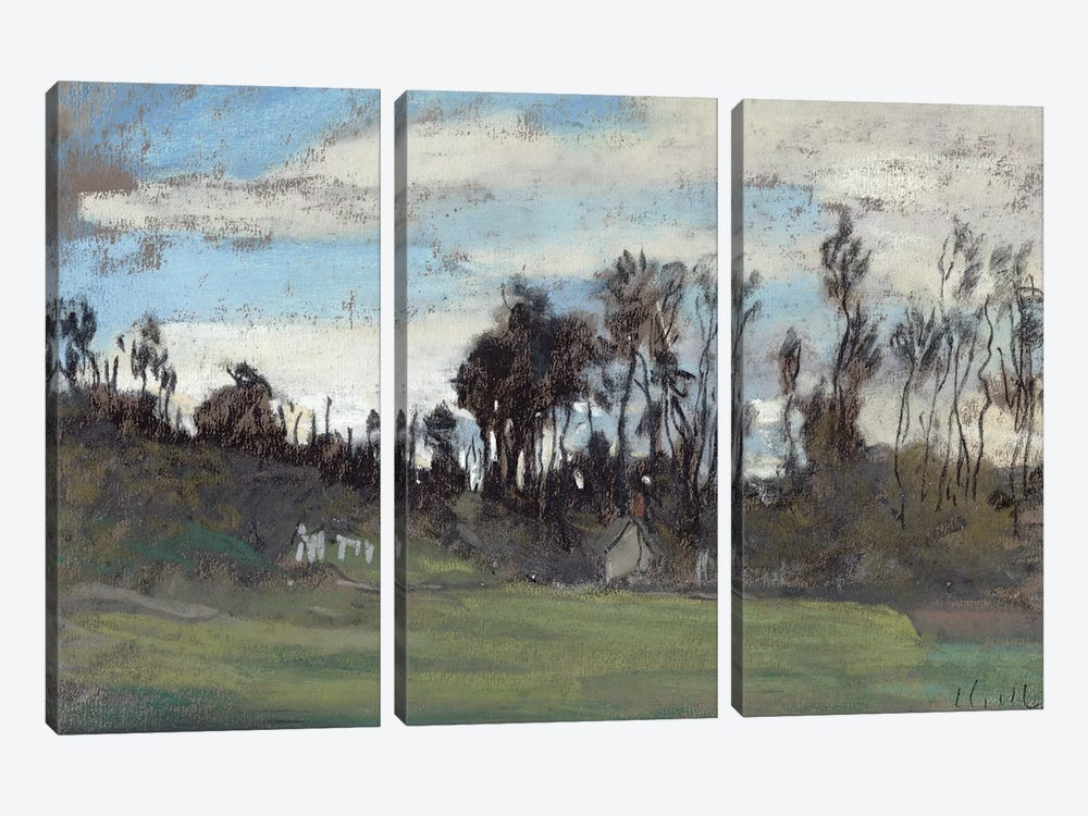 The Meadow lined with trees  by Claude Monet 3-piece Canvas Wall Art