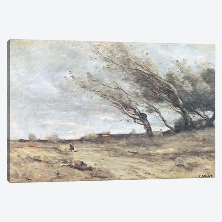 The Gust of Wind, c.1865-70  Canvas Print #BMN2554} by Jean-Baptiste-Camille Corot Canvas Art Print