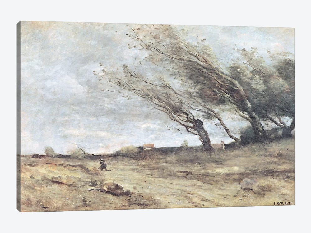 The Gust of Wind, c.1865-70  by Jean-Baptiste-Camille Corot 1-piece Canvas Art