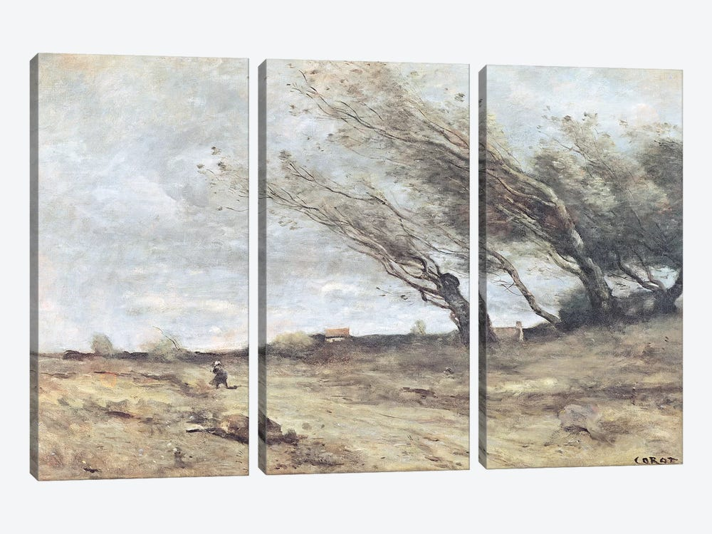 The Gust of Wind, c.1865-70  by Jean-Baptiste-Camille Corot 3-piece Canvas Art