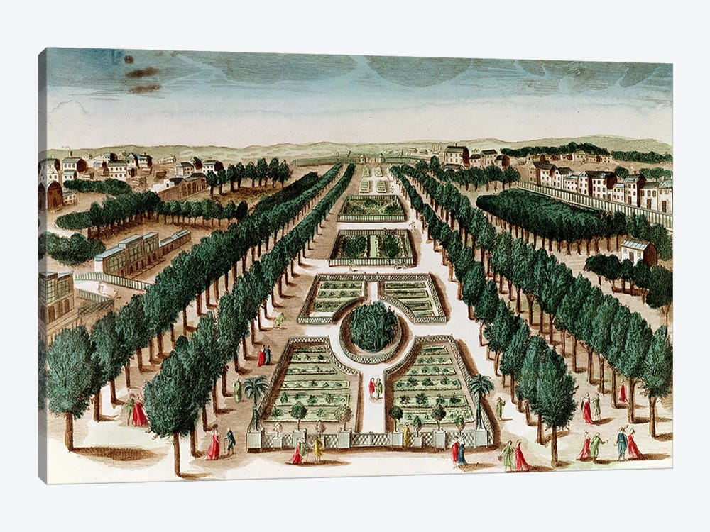 View of the Jardin des Plantes from the Cabinet d'Histoire Naturelle  by French School 1-piece Canvas Wall Art