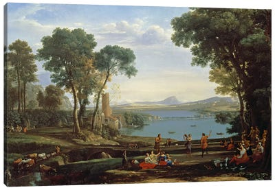 Landscape with the Marriage of Isaac and Rebekah Canvas Art Print