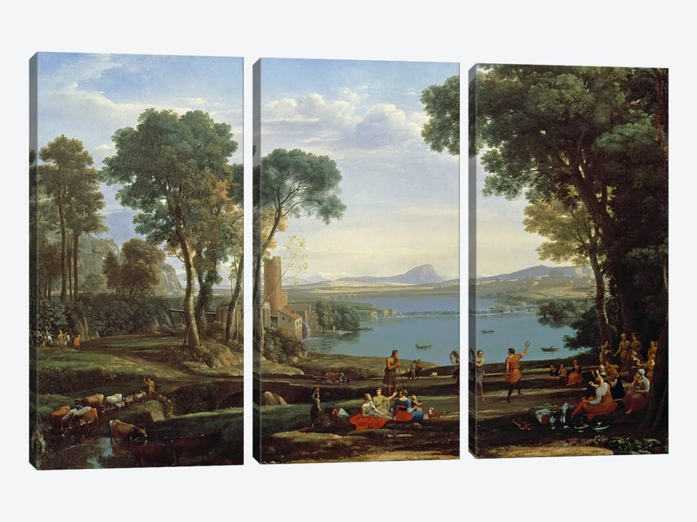 Landscape with the Marriage of Isaac and Rebekah  by Claude Lorrain 3-piece Canvas Wall Art