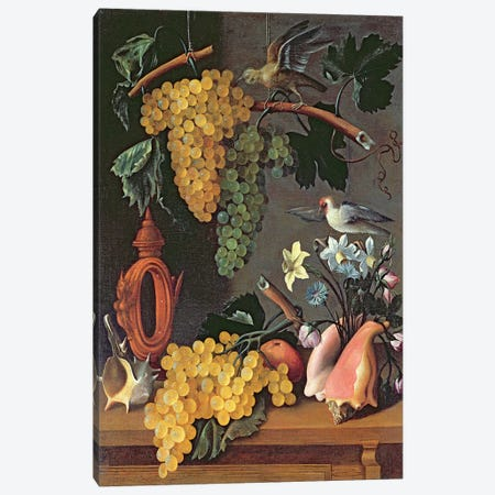 Still Life with Grapes, Birds, Flowers and Shells  3-Piece Canvas #BMN2560} by Juan de Espinosa Canvas Print