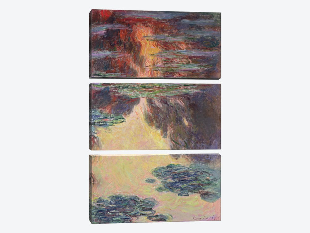 Waterlilies, 1907   by Claude Monet 3-piece Canvas Art