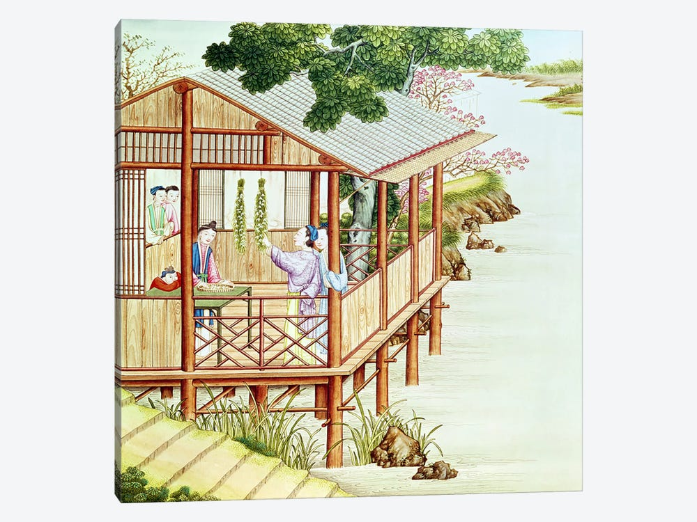 Women doing domestic work  by Chinese School 1-piece Canvas Print