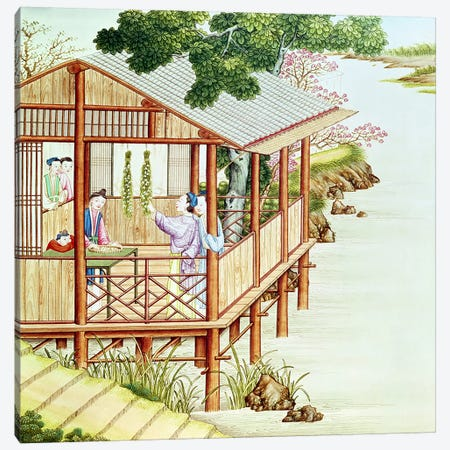 Women doing domestic work  Canvas Print #BMN2562} by Chinese School Canvas Print
