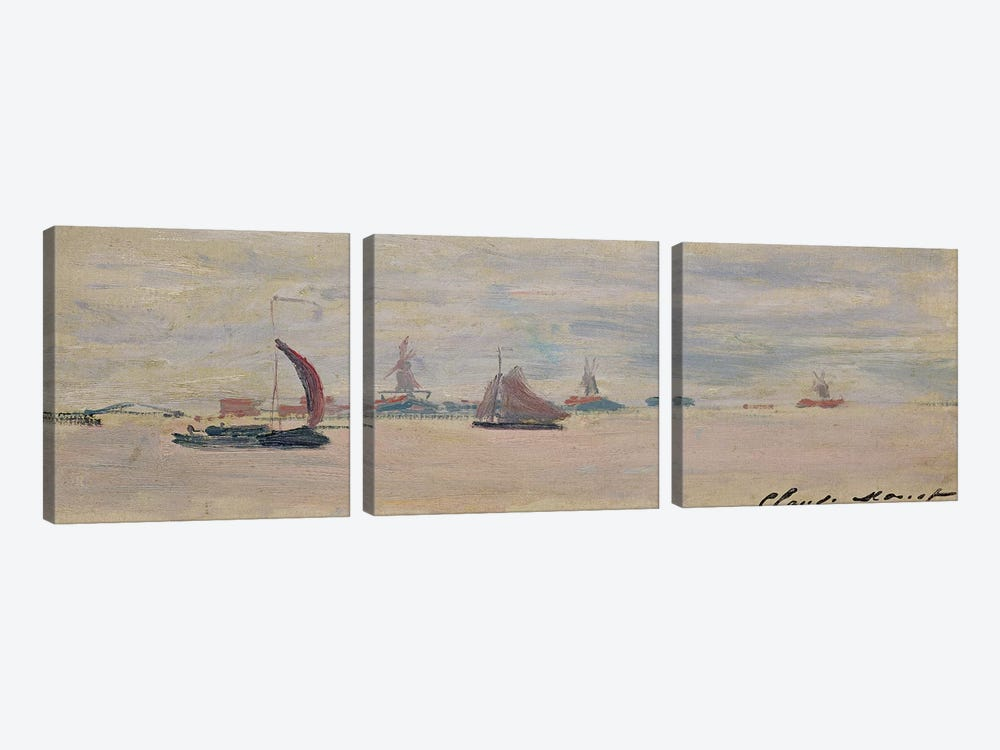 View of the Voorzaan, 1871  by Claude Monet 3-piece Canvas Wall Art