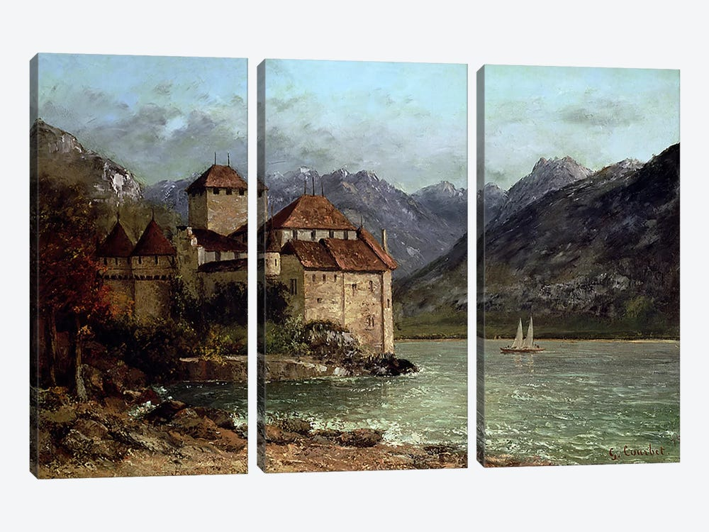 The Chateau de Chillon, 1875 by Gustave Courbet 3-piece Art Print