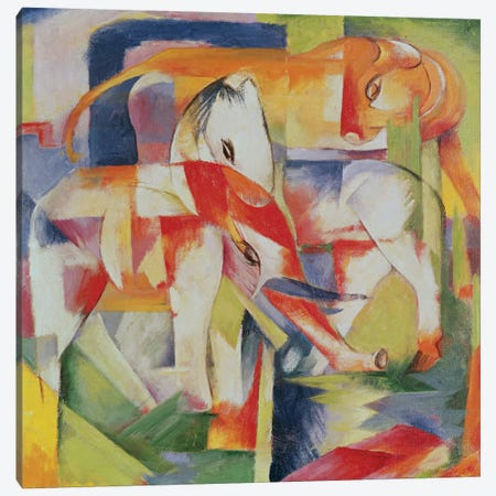 Elephant, Horse and Cow, 1914  Canvas Print #BMN2575} by Franz Marc Art Print