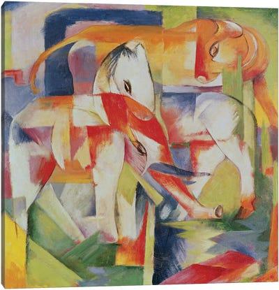 Elephant, Horse and Cow, 1914  Canvas Art Print