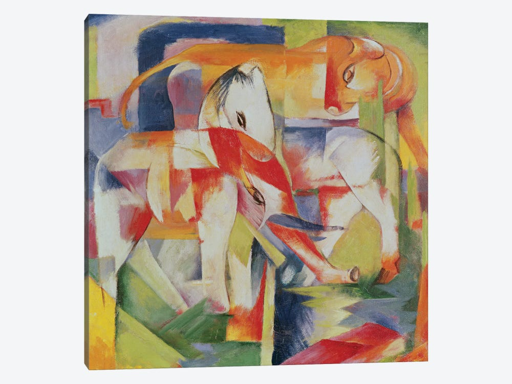 Elephant, Horse and Cow, 1914  by Franz Marc 1-piece Canvas Art Print