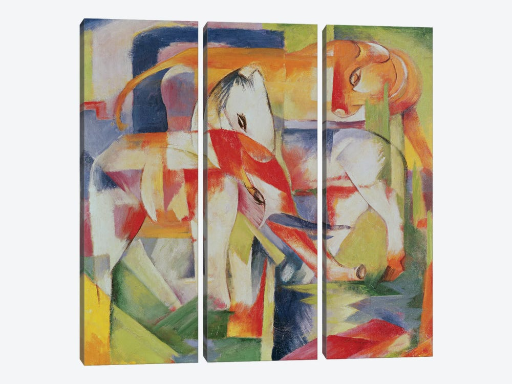 Elephant, Horse and Cow, 1914  by Franz Marc 3-piece Canvas Art Print