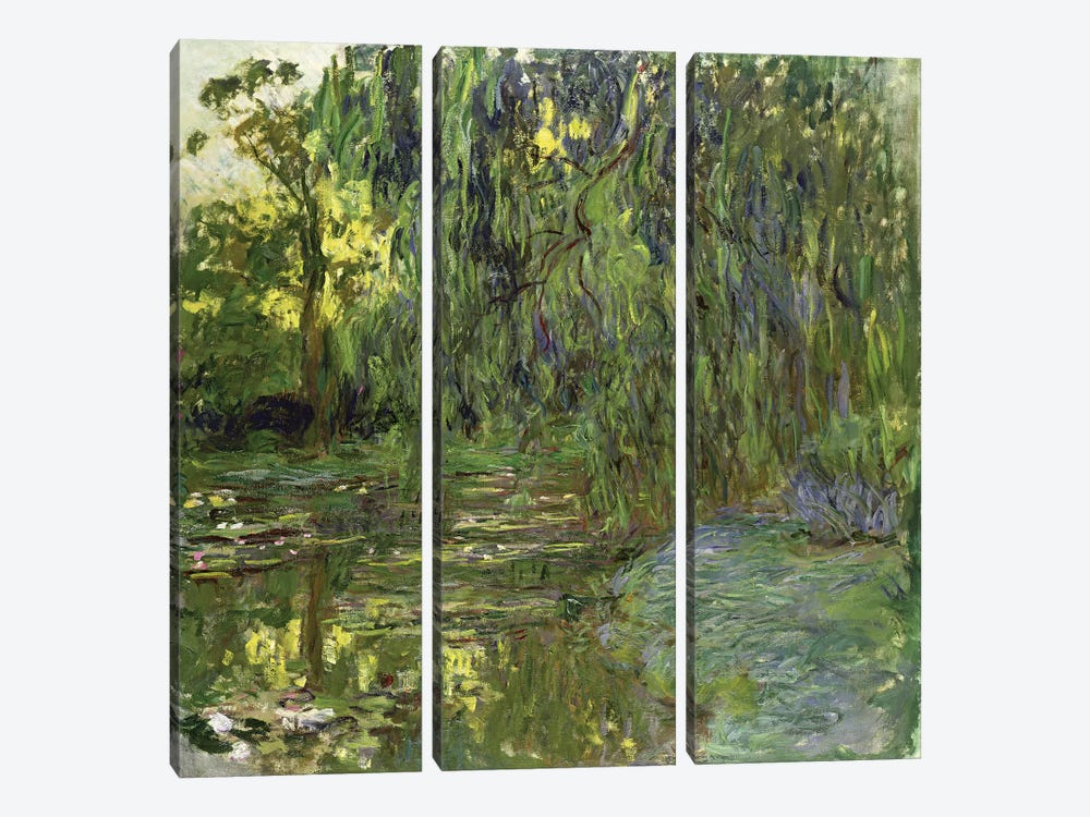 Weeping Willows, The Waterlily Pond at Giverny, c.1918  by Claude Monet 3-piece Canvas Artwork