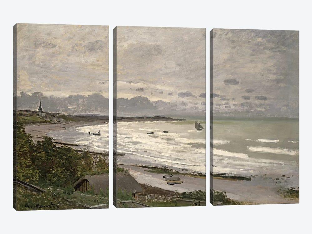 The Beach at Sainte Adresse, 1867  by Claude Monet 3-piece Canvas Print