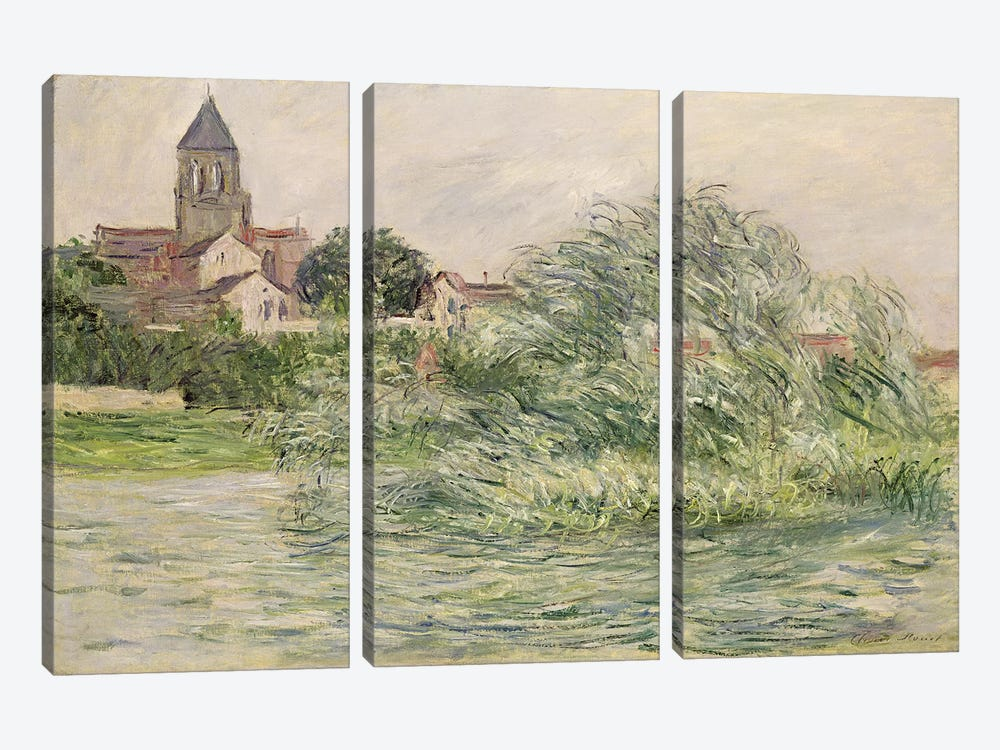 The Church and the Seine at Vetheuil, 1881  by Claude Monet 3-piece Canvas Art