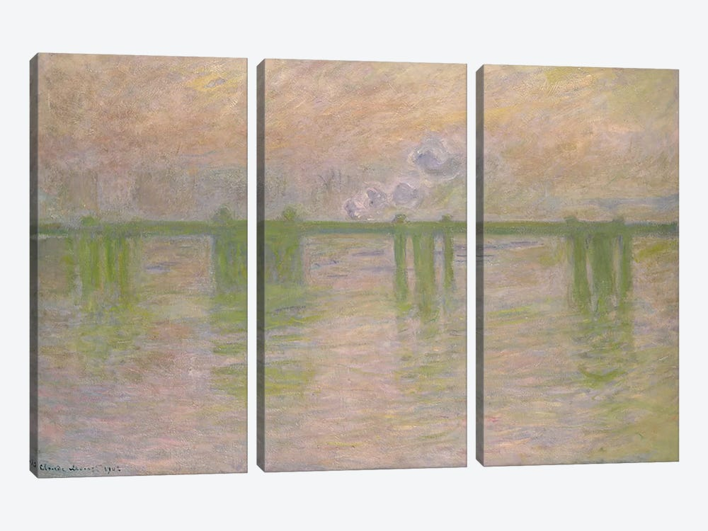 Charing Cross Bridge, 1902 by Claude Monet 3-piece Canvas Wall Art