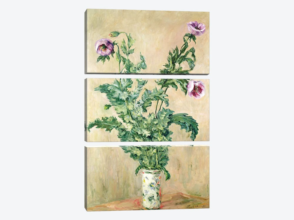 Poppies, c.1882  by Claude Monet 3-piece Canvas Print