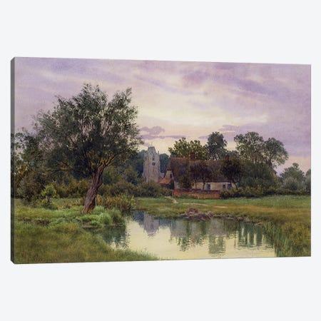 Evening, Hemingford Grey Church, Huntingdonshire  Canvas Print #BMN2589} by William Fraser Garden Canvas Print