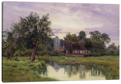 Evening, Hemingford Grey Church, Huntingdonshire Canvas Art Print
