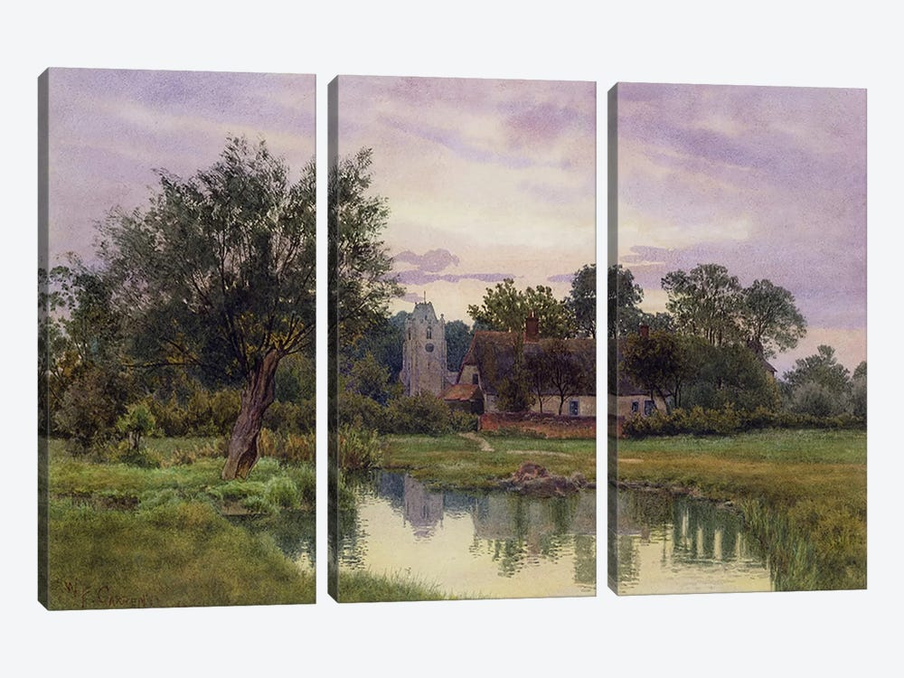 Evening, Hemingford Grey Church, Huntingdonshire  by William Fraser Garden 3-piece Canvas Artwork