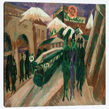 Leipzig Street with Electric Tram, 1914  Canvas Print #BMN2591} by Ernst Ludwig Kirchner Canvas Artwork