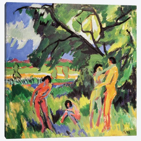 Nudes Playing under Tree, 1910  Canvas Print #BMN2592} by Ernst Ludwig Kirchner Canvas Artwork
