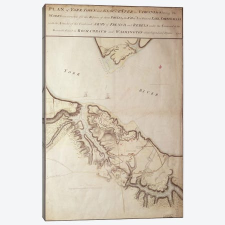 British map of the Siege of Yorktown, 1781  Canvas Print #BMN259} by John Hills Art Print