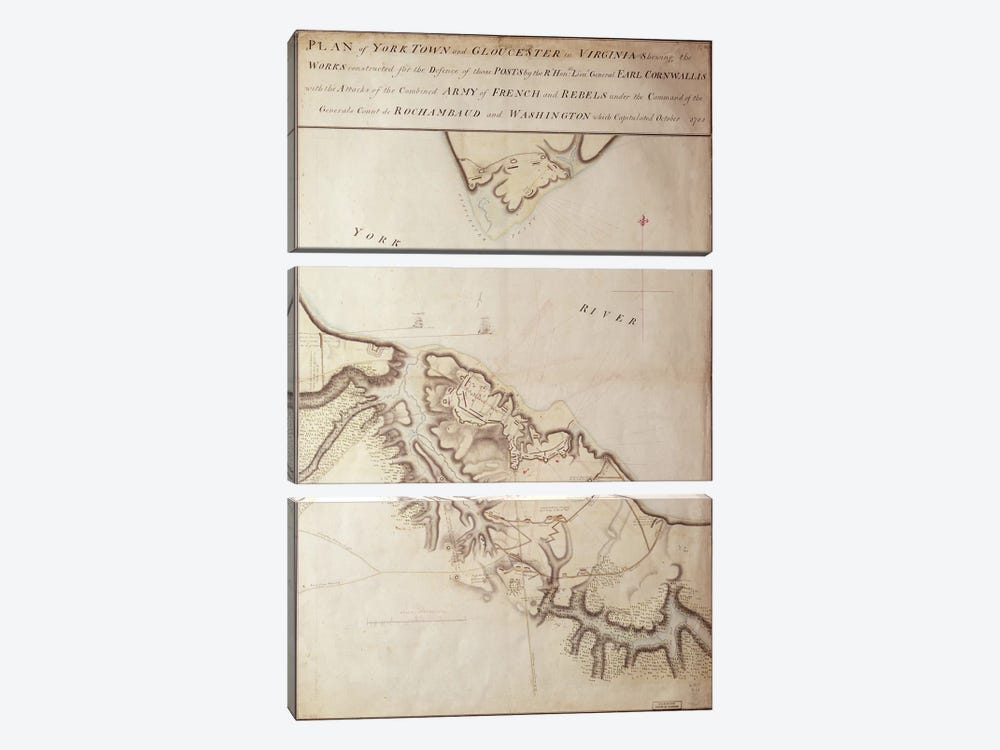 British map of the Siege of Yorktown, 1781  by John Hills 3-piece Canvas Art
