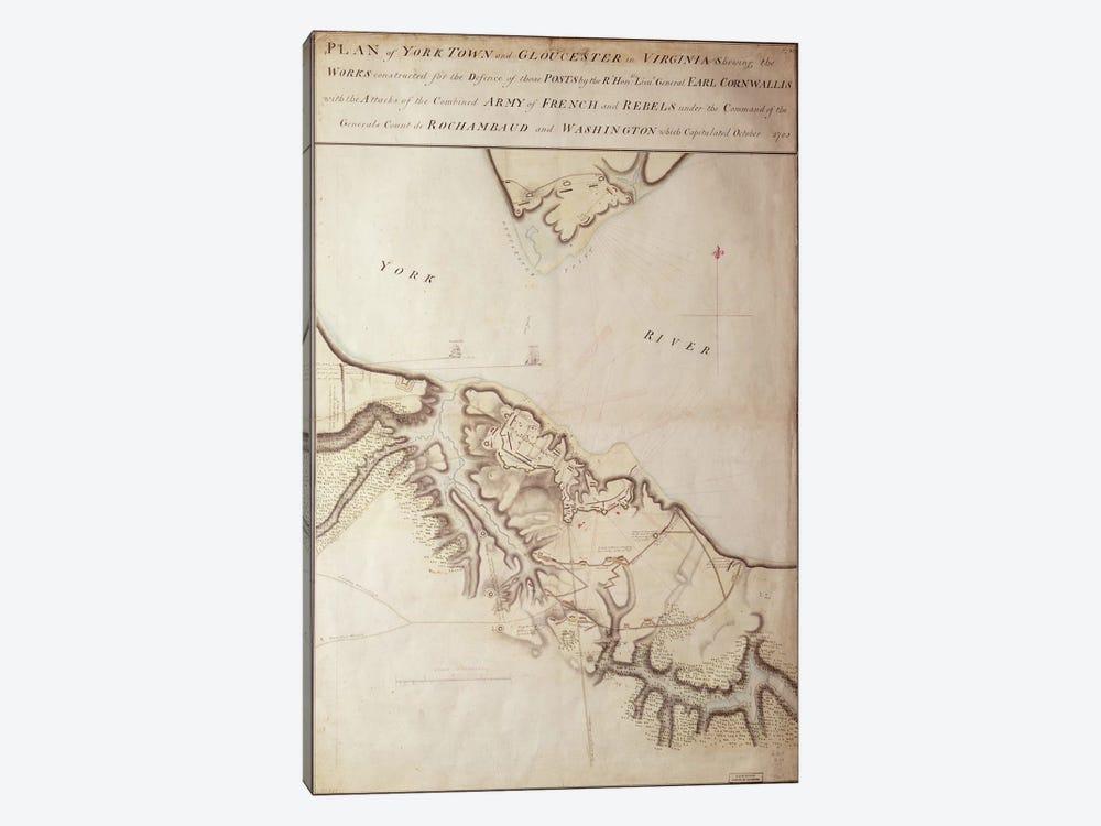 British map of the Siege of Yorktown, 1781  by John Hills 1-piece Canvas Artwork