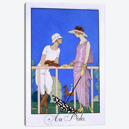 At Polo, 1920-29 (pochoir print) Canvas Print #BMN25} by Georges Barbier Canvas Print